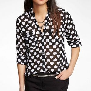 Express Portofino Shirt Blouse Heart Print Sheer